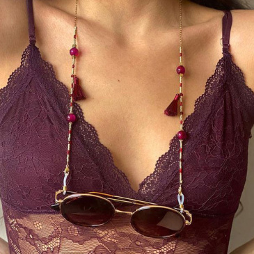 Bohemia Style Contrast Color Beads Fringe Halter Glasses Chain