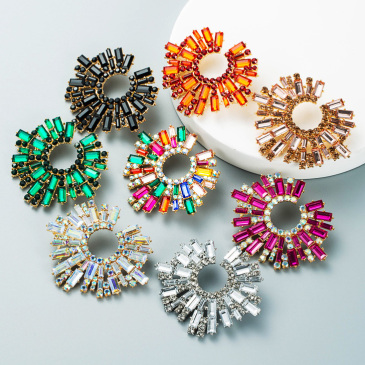 Exaggerated Multicolored Rhinestone Earring For Women