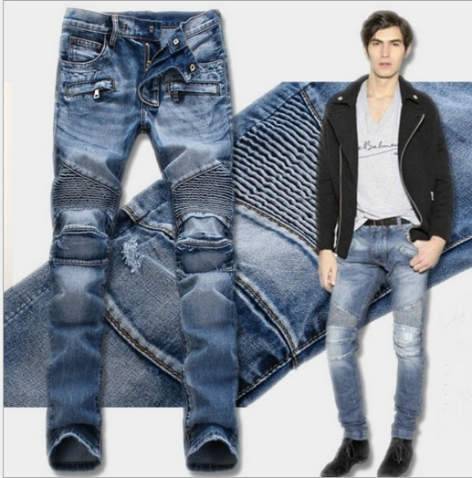 BALMAIN jeans Straight slim men's trousers hot style #9120578