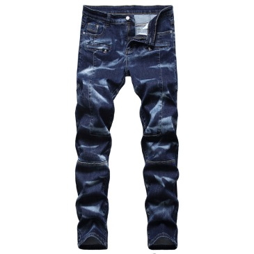 2021 new men's jeans blue stretch European and American personality zipper decoration jeans trendy men #99905873