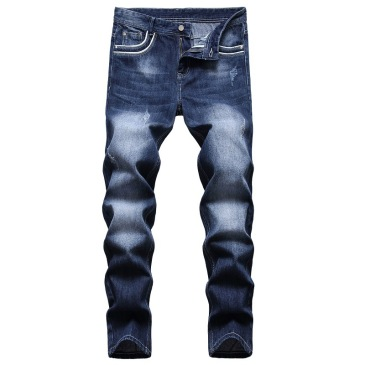 2021 new men's jeans blue stretch European and American personality zipper decoration jeans trendy men #99905875