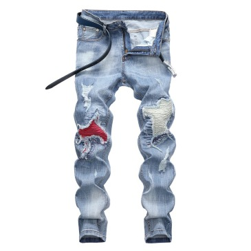 Light-colored stretch biker pants ripped jeans #99905856