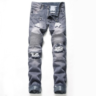Nostalgic ripped motorcycle jeans Jeans for Men's Long Jeans #99905839