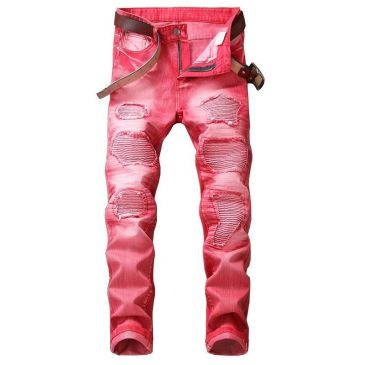 Nostalgic ripped motorcycle jeans Jeans for Men's Long Jeans #99905843