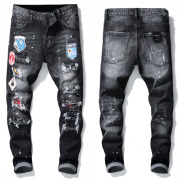 Dsquared2 Jeans Mens Badge Rips Stretch Black Jeans Fashion Slim Fit Washed Motocycle Denim Pants Panelled Hip HOP Trousers (15 Models) #9875297