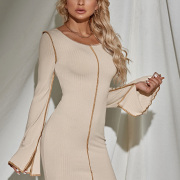 Fitted Pure Color Long Sleeve Knitting Dress