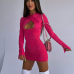 Hollow Out Solid Bodycon Long Sleeve Dress