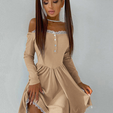 Lace Patchwork Off Shoulder Simple Fitted Dress