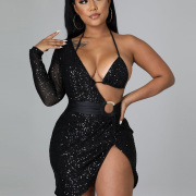 Sexy Solid Sequined Bra With Long Sleeve Dress