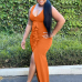 Pure Color Ruched Slit Maxi Dress For Women