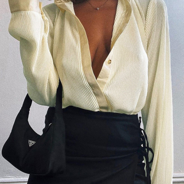 Trendy Solid Single-Breasted Turn-Down Collar Blouse