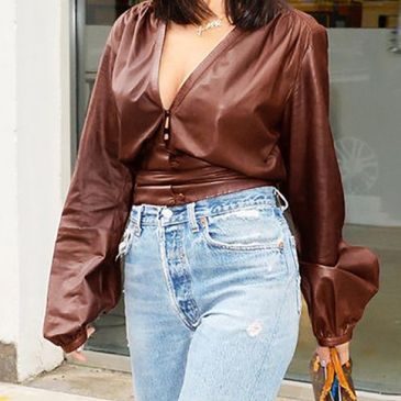 Vintage Sexy V Neck Puff Sleeve Solid Blouse