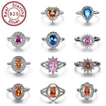 Popular fashion simple white gold heart-shaped pink opal ring #999914512