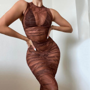 New printed dress net celebrity sexy hot girl see-through mesh vest one-step skirt #999902673