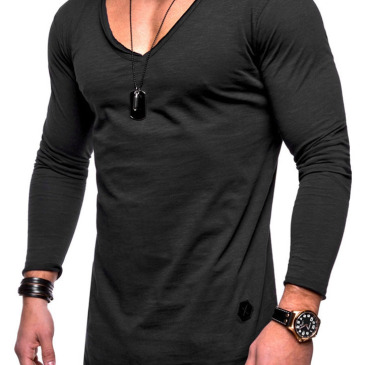 Casual Solid V Neck Long Sleeve Tee For Men