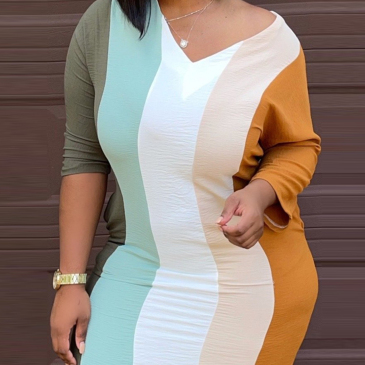Characteristic Contrast Color Striped Long Sleeve Dress