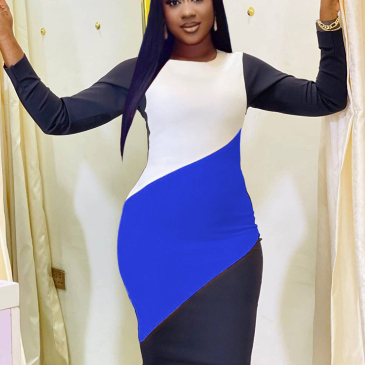 Fashionable Contrast Color Long Sleeve Fitted Dress