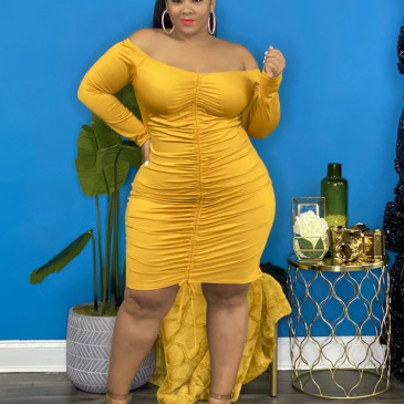 Plus Size Solid Ruched Sheath Long Sleeve Dress