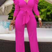 Hot Sale Sexy V Neck Solid Long Sleeve Jumpsuit