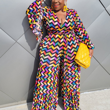 Plus Size Colored Printed Long Sleeve Jumpsuit