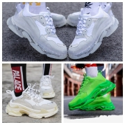 New Balenciaga 17FW Triple S Sneakers Mens Women Casual Shoes Triple S Clear Sole White Green Black Red Rainbow Sports Outdoor Dad Shoe #9875178