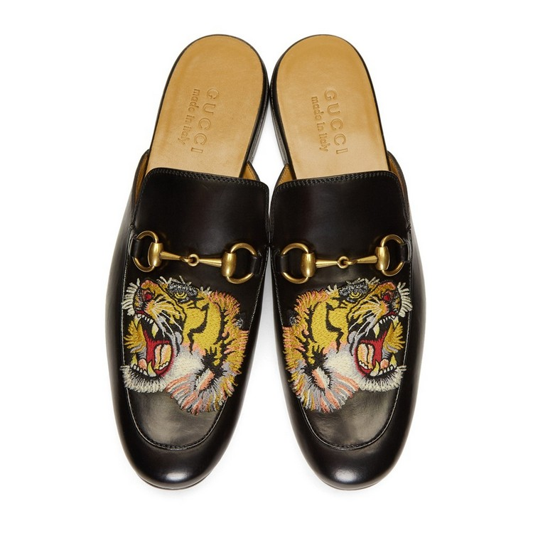 Gucci men's loafers leather horse title buckle tiger applique #9120224