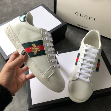 Women Gucci original 1:1 top quality white Sneakers Little bee #9105308