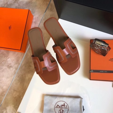 Hermes Shoes for Women's Leather slippers sizes 35-42 #99903657