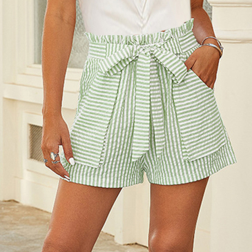 Leisure Striped Bow Loose Short Pants