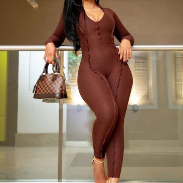 V Neck Casual Solid Skinny One Pieces Jumpsuits