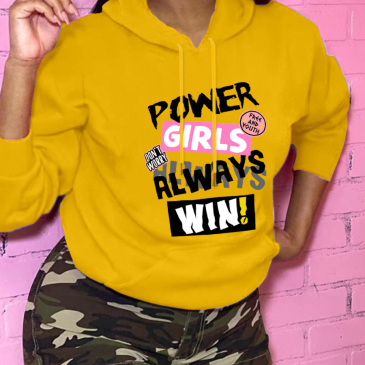 Plus Size Letter Printed Fashion Loose Hoodies