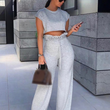 Leisure Solid Cropped 2 Piece Pant Sets