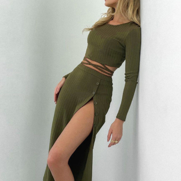 Solid Crew Neck Crop Top And Long Skirt Set