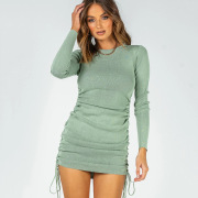 Sexy Double side drawstring long sleeve round neck dress female autumn and winter one step dress #999902460